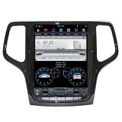 KJHGYU Android 8.1 4GB ROM Tesla-Art-Auto GPS-Navigation Kompatibel Jeep Grand Cherokee 2014-2018 Gold und Schwarz Head Unit Multimedia Player,Blackcolor32gb