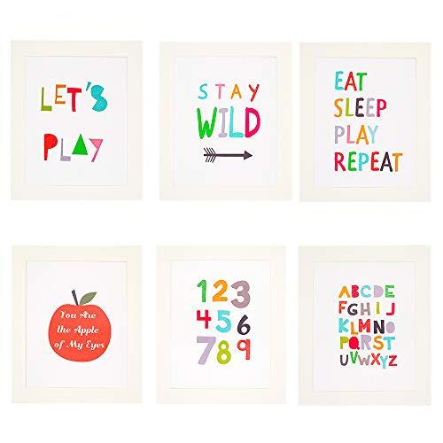 Paquete de 6 pósteres de lienzo creativo con texto en inglés proverbio, marco de fotos para decoración de pared, collage para dormitorio de niños, decoración del hogar de 8 x 10 cm