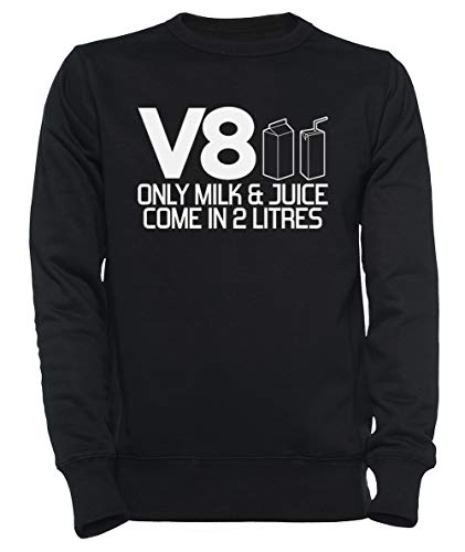 V8 - Only Milk & Juice Come In 2 Litres Dames Mannen Unisex Sweatshirt Trui Zwart Women's Men's Unisex Sweatshirt Jumper Black