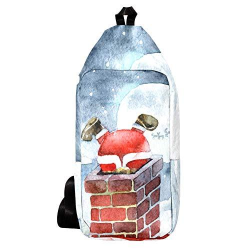 Sling Bag Casual Wasserdichter Schulter-Rucksack Crossbody Brusttaschen für Herren Damen Outdoor Radfahren Wandern Reisen Fahrrad Sport - Weihnachtsmann Klettern Kamin