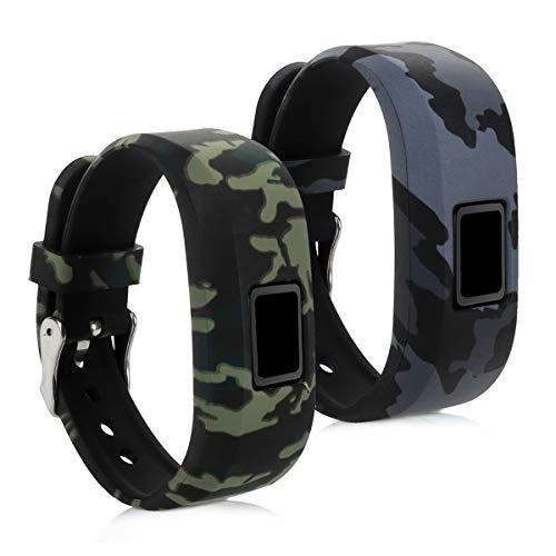 kwmobile 2X Bracelet Compatible avec Garmin Vivofit jr. / jr. 2 - Bracelet de Rechange en TPU pour Fitness Tracker - Camouflage Gris foncé-Noir-Gris Clair