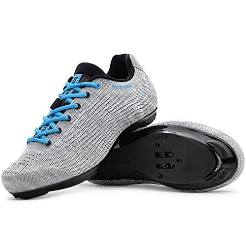 Tommaso Pista Aria Knit Women's Indoor Cycling Class Ready Shoe - Grey/Blue - 40
