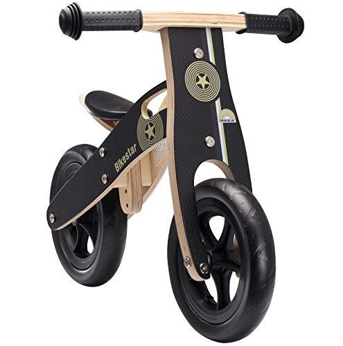 BIKESTAR Kinderlaufrad Lauflernrad Kinderrad für Jungen und Mädchen ab 2 - 3 Jahre ★ 10 Zoll Kinder Laufrad Holz ★ Schwarz