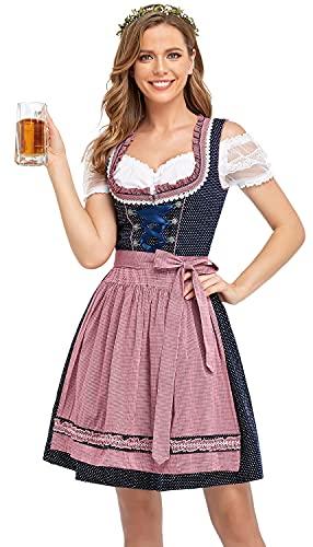 BENNIES Dirndl Damen midi Trachtenkleid Damen Trachtenrock Trachtenmode Kleid Dirndlbluse für Oktoberfest Rosa 34