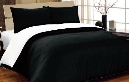 viceroy bedding Complete Double, Reversible Black/White, Duvet Cover and Fitted Sheet Bed Set