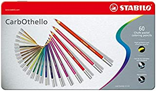 STABILO Carbothello Chalk-Pastel Coloured Pencils, Metal Box, Pack of 60