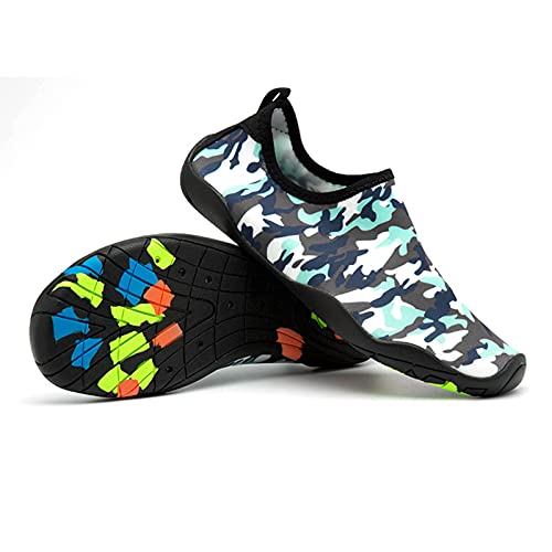 HYYP Zapatos de agua para hombre de secado rápido natación para mujer descalzo Aqua Unisex deportes acuáticos Surf Beach Boating Snorkeling Yoga Zapatos Calcetines azul-d-43 EU