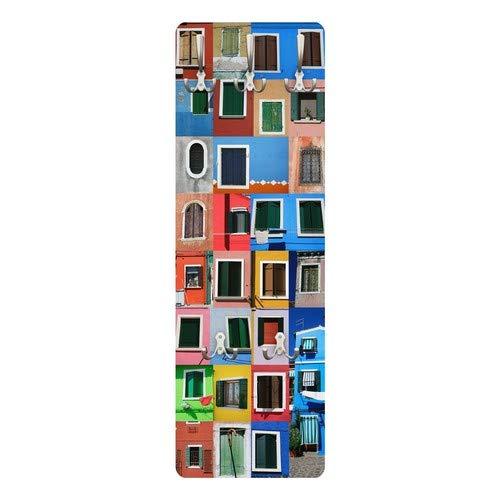 Bilderwelten Appendiabiti-Appendiabiti da Parete, 139x 46x 2cm, Motivo:Finestre del Mondo