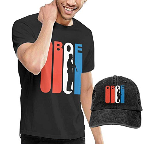 AYYUCY Herren Kurzarmshirt Men's T-Shirt and Hats Red White and Blue Oboe Fashion Sport Casual Tee and Baseball Cap