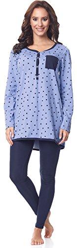 Be Mammy Damen Langarm Pyjama mit Stillfunktion BE20-178, Blau-Punkten-Marine, L(Blau-Punkten-Marine, L)