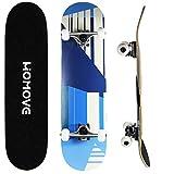 HOMOVE Skateboard , Tabla Completa Patinetas de 31 x 8 Pulgadas con Doble Patada, rodamientos de Bolas ABEC-7, Longboard de Madera de Arce de 7 Capas para jóvenes, niños, Adultos de la Calle
