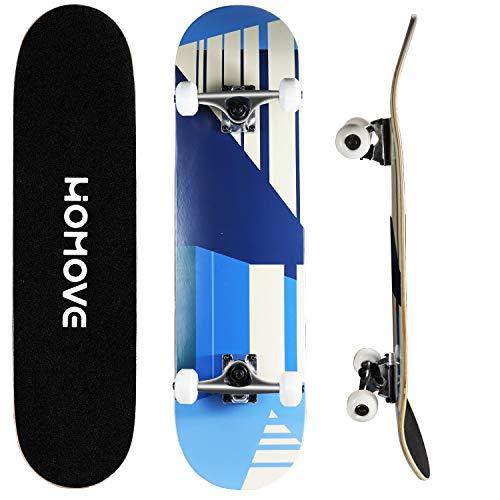 HOMOVE Skateboard, Komplettboard 31 x 8 Zoll Skateboards mit Doppel-Kick, ABEC-7 Kugellager, 7-lagigem Ahornholz Longboard für Männer und Frauen Jugend Kinder Straße Erwachsene(Streetstyle) (BLau)