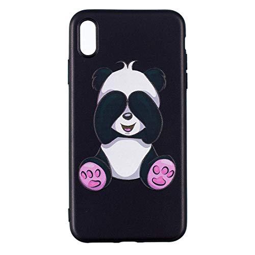 Funda protectora suave de TPU con diseño estampado en relieve Funda para iPhone Xs Max Funda antideslizante (Patrón: Panda)