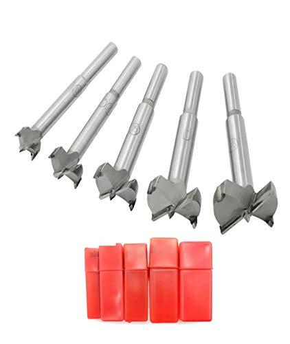Mengshen Brocas Forstner 15-35mm 5PCS, Taladro de la Carpintería Carbón Saw Avellanadoras Broca Fresadora Madera Hole Conjuntos de perforación de Carburo Cementado con Vástago Redondo