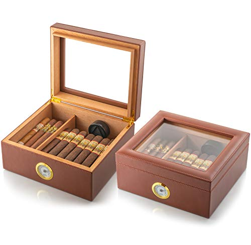 Amerigo Luxury Handcrafted Cigar Humidor - Leather Glass Top Cigar Box - Cigar Gifts for Men - Cigar Accessories - Humidor Humidifier with Cedar Core, Divider & Front Hygrometer - Holds 25-50 Cigars