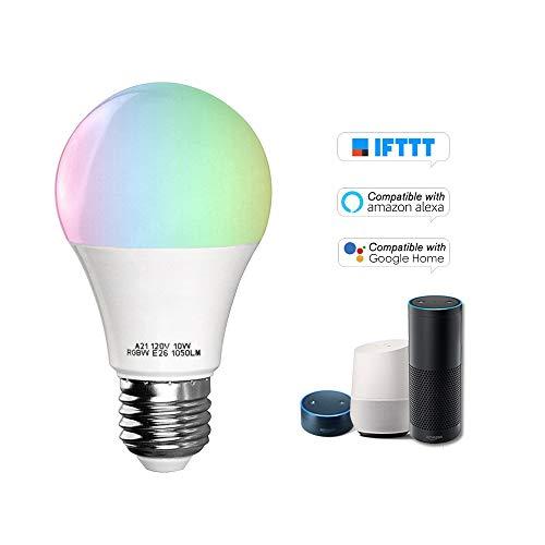 OWSOO V5 Bombilla Inteligente WiFi RGB+W LED 11W E27 Luz Regulable Soporte Control Remoto del Teléfono, Control de Grupo, Compatible con Alexa Google Home/Tmall Genie Bombilla de Control de Voz