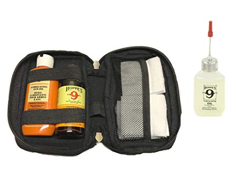 Gun Bore Cleaner, Lubricating Oil and Needle Tip Bottle with Premium Cotton Patches in Neoprene Case