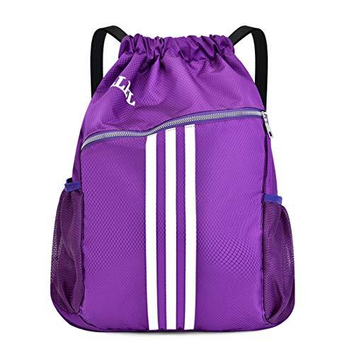 MYYINGELE Sport Basketballtasche mit Taschengröße, manuelle Luftpumpe, Basketballrucksack für Outdoor-Sport, ideal für Basketball, Fußball, Volleyball Multi-Sporttasche Kinder für Erwachsene, Purple
