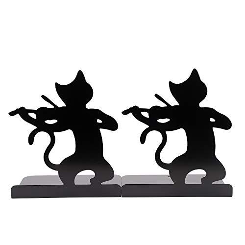 可愛いブックエンド 本立て 金属製 卓上収納 ブックスタンド 伸縮自在 L型 ブックオーガナイザー 本棚 滑り止め 倒れない 学校 部屋 机上 整理整頓 インテリア ネコ 置物 2枚1組 ギター演奏猫