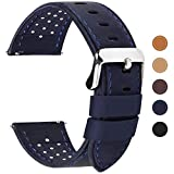 Fullmosa Correa de Reloj 18mm 20mm 22mm 24mm liberación rápida, 5 Colores Breeze Correa de Cuero de Banda de Piel de Becerro, 22mm Azul Oscuro