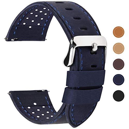 Fullmosa 6 Farben für Uhrenarmband mit Schnellverschluss, Breeze Serie Leder Ersatzband geeignet für Armbanduhr Herren&Damen,22mm Dunkelblau