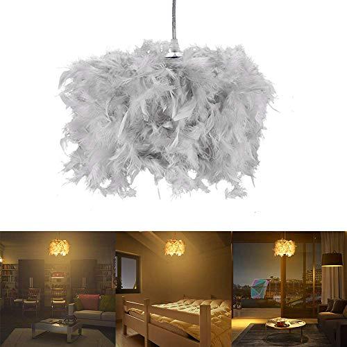 Lámpara Colgante LED, Luz de Techo Decoración de Plumas Lámpara Colgante Araña simple,araña de plumas redonda ajustable,Tendlife pantalla de plumas de dormitorio de estilo moderno