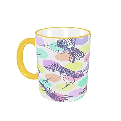 Taza de café, colibrí, pájaros, Animales, Tazas de café, Tazas de cerámica con Asas para Bebidas Calientes, Capuchino, café con Leche, té, Cereales, café, Regalos, 12 oz Sky Blue
