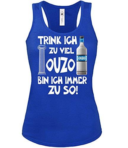 Trink ich zu viel Ouzo Bin ich Immer zu so Sauf Griechenland Geschenke Lustig Sprüche Geburtstag Damen Frauen Mädchen Tank Top T-Shirt Tanktop Griechen Greece Griechisch Kreta Geschenkidee Party