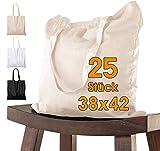 Bolsa de algodón, 38 x 42 cm, sin Estampar, Asas largas, Bolsa de Tela, Bolsa de algodón, Bolsa de Yute con Certificado Öko-Tex , 25 unidades (naturaleza)