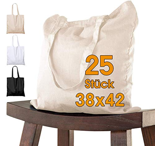 25 Stück Baumwolltasche 38 x 42 cm unbedruckt lange Henkel Stofftasche Tragetasche Umhängebeutel Baumwollbeutel Jutebeutel ÖKO-TEX® geprüft Stoffbeutel Einkaufsbeutel Einkaufstasche leinentasche natur