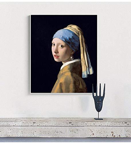 WSHIYI Vermeer Wall Art Canvas Painting Chica con Pendientes de Perlas Pintura al óleo Impresión Póster de Pared Decoración Decoración Abstracta 40x50cm (15.7x19.7 Pulgadas) Sin Marco