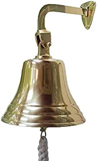 ARSUK nautical bell, solid brass for the navy, for dinner at school, on boat, for reception, home decoration, for hanging on the wall, antique bell (5