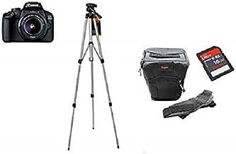 كاميرا كانون اي او اس 4000D بعدسة اي اف اس 3 مقاس 18-55 ملم مع حامل ثلاثي القوائم وحقيبة دي اس ال ار وبطاقة ذاكرة اس دي اتش سي سعة 16 جيجابايت