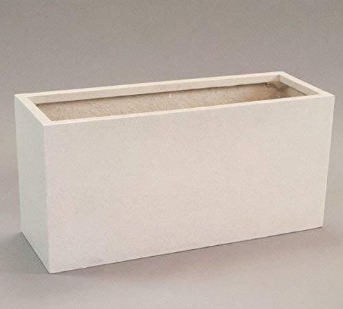 Pflanztrog Blumentrog Raumteiler Fiberglas rechteckig LxBxH 80x30x40cm perlmutt weiß