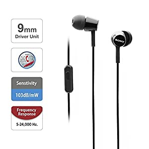 Sony Earbuds with Microphone, in-Ear Headphones and Volume Control, Built-in Mic Earphones for Smartphone Tablet Laptop 3.5mm Audio Plug Devices, Black (MDREX155AP/B)
