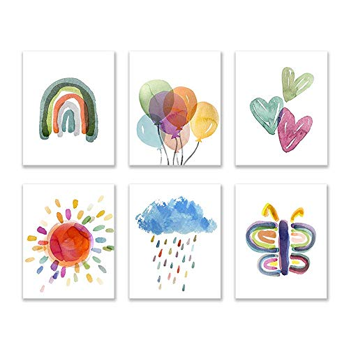 Wall Art for Nursery and Kids Bedroom | 8X10 | UNFRAMED | Colorful Watercolor Paintings | Home Decor Accents | Home Decorations | Decor for Girls and Boys Bedroom | Digital Prints | Set of 6