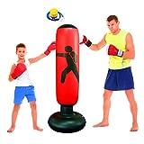 Saco de Boxeo para niños Saco de Boxeo Independiente para niños Juego de Boxeo Inflable para niños Rebote para Practicar Karate MMA Fitness Sacos de Boxeo (Rojo)