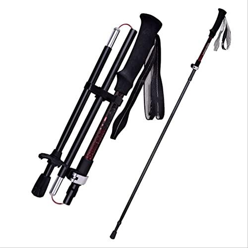 VVJYJF Bastones Trekking Fibra Carbono,Portátiles Plegables para Caminar EVA Grips Stick Bastones Trekking Ultraligeros Fácil Ajuste Longitud para Mochileros Camping 2PCS