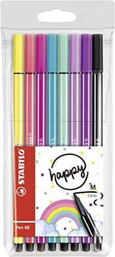 Fieltro de dibujo – Stabilo Pen 68 Living Colors – Estuche de 8 rotuladores punta media – Décor Multicolor