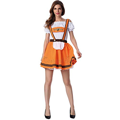 GGT Boutique Leuke Duitse Oktoberfest Oranje Bier Meisje Kostuum Suspender Mini Jurk Puff Sleeve, M, Multi kleuren