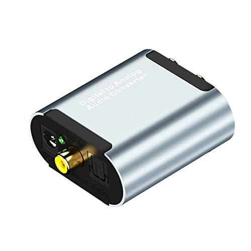 Wivarra Convertidor de LíNea de Audio Coaxial una AnalóGico de Fibra Digital con Decodificador HD de Audio de 3,5 Mm Fibra óPtica + Cable USB