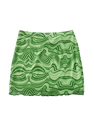 SOLY HUX Women's High Waist Lettuce Trim Marble Print Mesh Mini Bodycon Skirt Green L