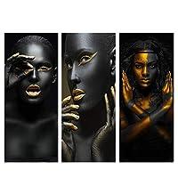 """アフリカンアートブラックとゴールドの女性キャンバス絵画ポスターとプリントモダンウォールアート写真リビングルーム家の装飾写真20x40cm / 7.8""""x15.7"""" X3フレームレス"""