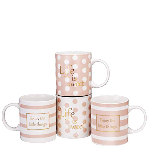 Bruntmor Set Of 4 Ceramic New Bone China Love Inspirational Coffee Mugs with gold decal 11 Oz Valentine Day Gifts Pink
