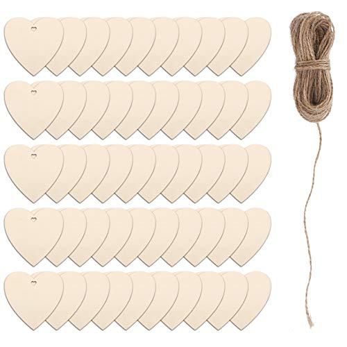 MIZOMOR 50 Pezzi Cuori di Legno per Artigianato Cuori di Legno Ornamenti di Legno Cuore Affettati di Legno con Stringa per Matrimonio Tag San Valentino