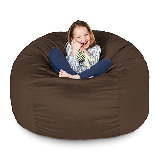 Lumaland Luxury 3-Foot Bean Bag Chair with Microsuede Cover Brown, Machine Washable Big Size Sofa and Giant Lounger Furniture for Kids, Teens and Adults