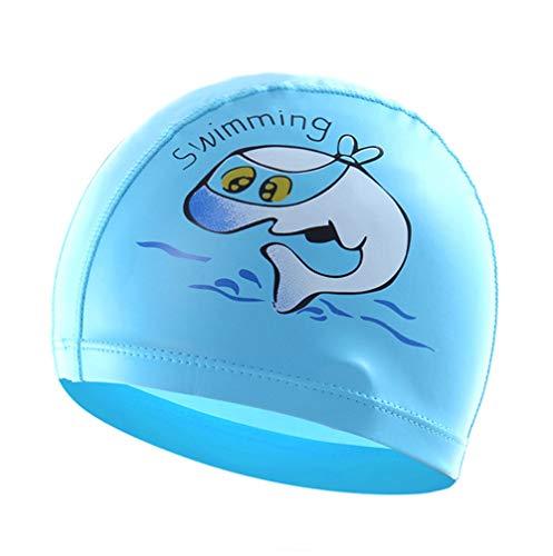 Boomly Bambino Bambini Cartone Animato Cuffia da Nuoto PU Impermeabile Cuffia da Nuoto Cuffie antirumore Cuffia da Bagno per Spiaggia, Piscina Bambini di 3-10 Anni (Blu Lago, 23 * 15CM)