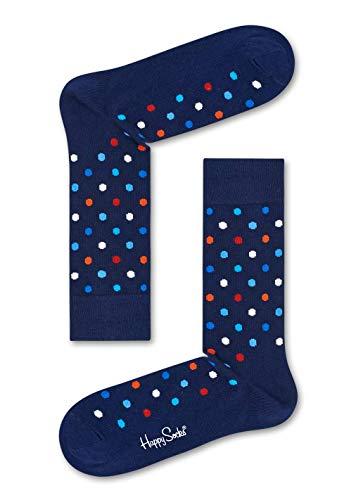 Happy Socks, bunt klassische Baumwolle Socken für Männer und Frauen, Navy Blue Dot (41-46)