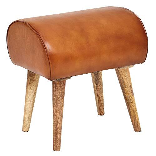 FineBuy Sitzhocker Echtleder/Massivholz 45 x 53 x 40 cm Moderner Lederhocker | Kleiner Holzhocker Gepolstert | Turnbock Hocker mit Leder-Bezug