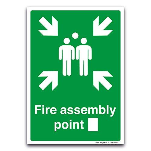 stika.co Fire Assembly Point Sign - met Custom Box - Brand- en EHBO-borden door (1mm stijf plastic, 148mm x 210mm A5)